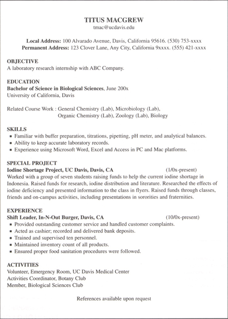 college internship resume sample undergraduate examples format for students with no experience intern template